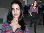 Jessica Lowndes goes for the dressed down look in purple caridgan, after stunning the crowd at the Canadian Screen Awards in plunging gown