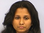 Arrested: Shriya Biman Patel is jailed on $1 million bond and booked into the Travis County Jail in Austin, Texas, on charges of first-degree felony aggravated assault and arson