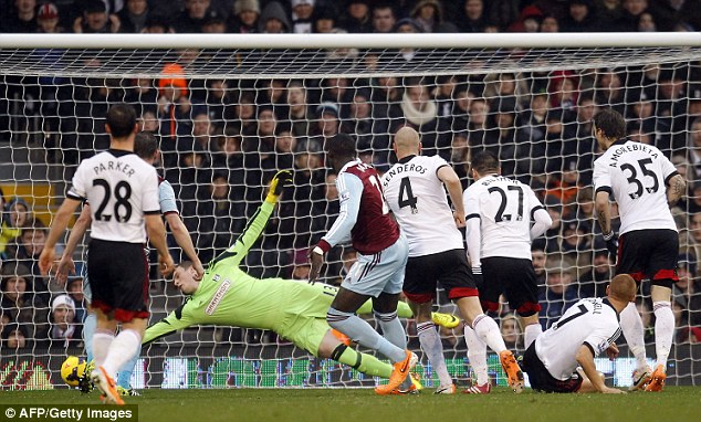 Strike: Diame sees his shot go past the sprawling David Stockdale