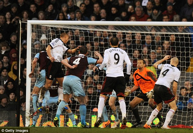 Equaliser: Sidwell rises highest to head home a cross