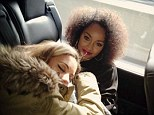 Tired: Perrie Edwards, 20, fell asleep on the lap of Leigh-Anne Pinnock, 22, as Little Mix travelled in their tour van