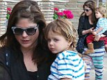 Showing their stripes! Selma Blair and son Arthur run errands in coordinating horizontal patterns