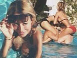Revealing: Aubrey O?Day displayed her stunning curves to perfection as she frolicked in a pool with a group of friends
