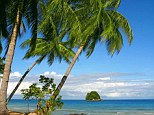 AXYRN1 coast with sandy beach and palm trees, Malaysia