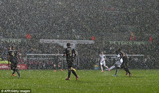 Rainy day: On a glum New Year's Day, Bony produced a moment of magic in the last few minutes from long range