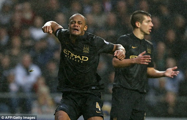 Unhappy: Vincent Kompany reacts after a free-kick is given against his team