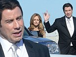 John Travolta and Kelly Preston smile through the pain as they fly home on a private jet after attending friend's funeral
