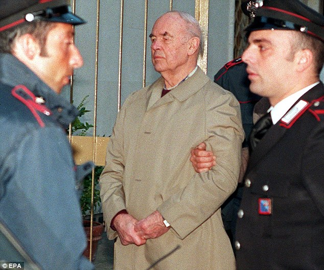 Justice served: The former SS captain died on Friday aged 100, serving a life sentence after his 1996 conviction(pictured)