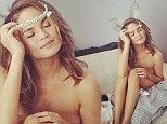 Calling Hugh Hefner! Model Chrissy Teigen has a Playboy moment as she tries on bunny ears while posing naked