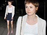 Karen Gillan shows off her slender legs in tiny blue skirt and exhibits her stylish side by pairing it with shiny pink shoes