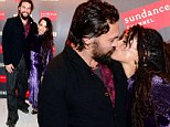 Lisa Bonet and husband Jason Momoa kiss at the Parisian premiere of their SundanceTV series The Red Road