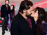 Lisa Bonet and husband Jason Momoa kiss at the Parisian premiere of their SundanceTV series The Red Road