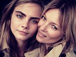 Model behaviour: Cara Delevingne shared a picture of herself and Kate Moss on her Instagram page on Wednesday morning as the pair worked on a Burberry fragrance campaign together