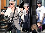 Pedal power! Pink shows her active side as she cycles to lunch with husband Carey Hart and daughter Willow