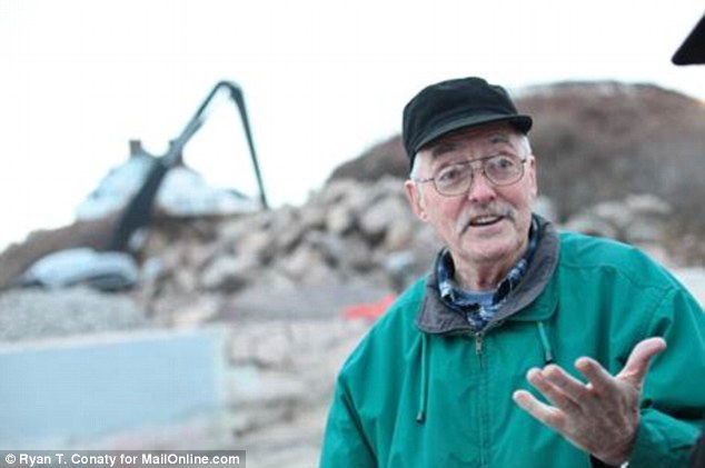 I can't believe it: Richard Bishop expresses his disbelief at the huge construction work going on behind him at Taylor Swift's Rhode Island home