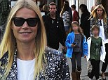 Are they eating HOT DOGS? Gwyneth Paltrow and Chris Martin treat their kids to food truck fare on rare public family outing