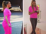 Pink power: Mel B posted a comparison shot on Instagram of herself and J-Lo sporting similar hot pink attire
