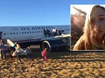 Hannah Udren is seen on a grainy clip fleeing from the Airbus A320 along the runway at Philadelphia International Airport on Thursday