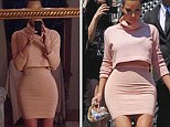 Had some help? Kim sparked rumors that she Photoshops her own selfies with slimming acts after posting this picture in pink (left) - in which she looks much slimmer than reality (right)