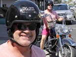 He's a Beast! Confident Kelsey Grammer is pretty in pink as he goes for a ride on his chopper in Beverly Hills