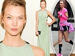 Busy gal: The 21-year-old supermodel lent her long lean pins to a photo shoot for new Nike running shoes before glamming it up in a green gown at a gala