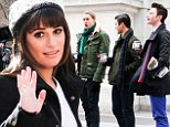Lea Michele keeps it chic in black ensemble as she films Glee with the rest of the cast on the streets of New York