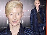 'I don't have a career, I have a life:' Tilda Swinton explains role choices as she dons sleek blue suit to celebrate her latest film