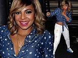 Packing a punch! Ashanti shows off her toned tummy in short crop blouse and skinny white jeans at boxing event