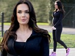 Taking bump for a stroll! Pregnant Tamara Ecclestone emphasises tum in black Lycra top and leggings... after sharing childhood snaps from her baby shower