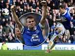 Slice of luck: Seamus Coleman celebrates after scoring the winner in injury time