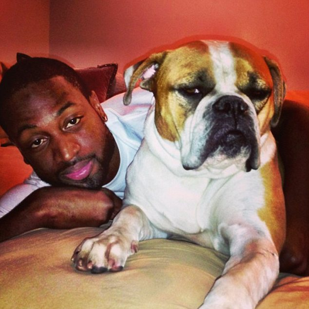 My boyfriend: Nine days earlier, Gabrielle referred to Wade as her boyfriend in this picture with her dog Sasha