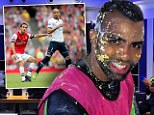 Tottenham's birthday boy Sandro has cake on his face ahead of Sunday's North London derby against Arsenal