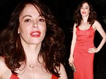 Lady in red! Rose McGowan, 40, is flawless in a slinky crimson dress for a night out at the Chateau Marmont