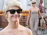 Running errands: Julianne Hough turned heads in a flowing beige eyelet maxi dress as she stocked up on groceries at Bristol Farms in Beverly Hills on Saturday