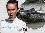 Mother-of-one Rachael Finch escapes uninjured after her car flips onto its roof in dramatic crash during celebrity race at the Australian Grand Prix