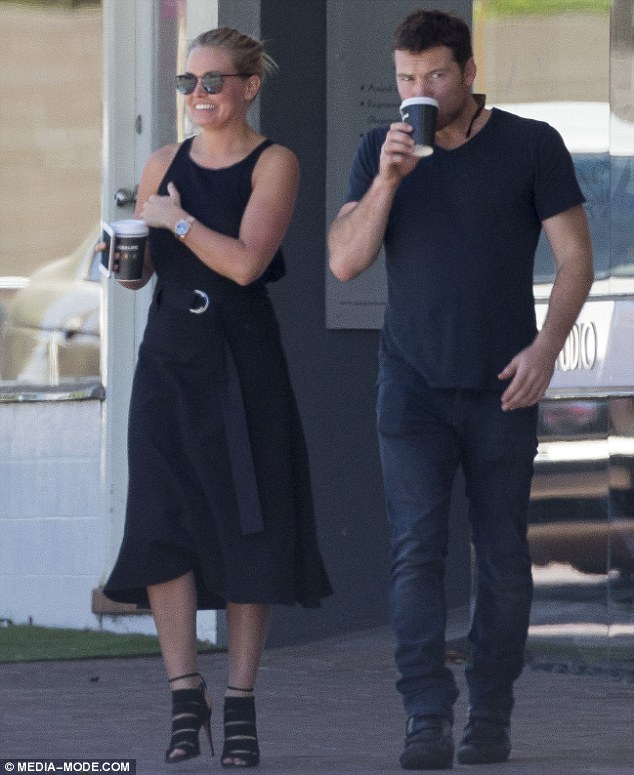 Starting well: Lara Bingle was seen looking chic in a black dress and sky-high heels as she enjoyed a low-key outing with Sam Worthington in Perth, Australia, on Tuesday