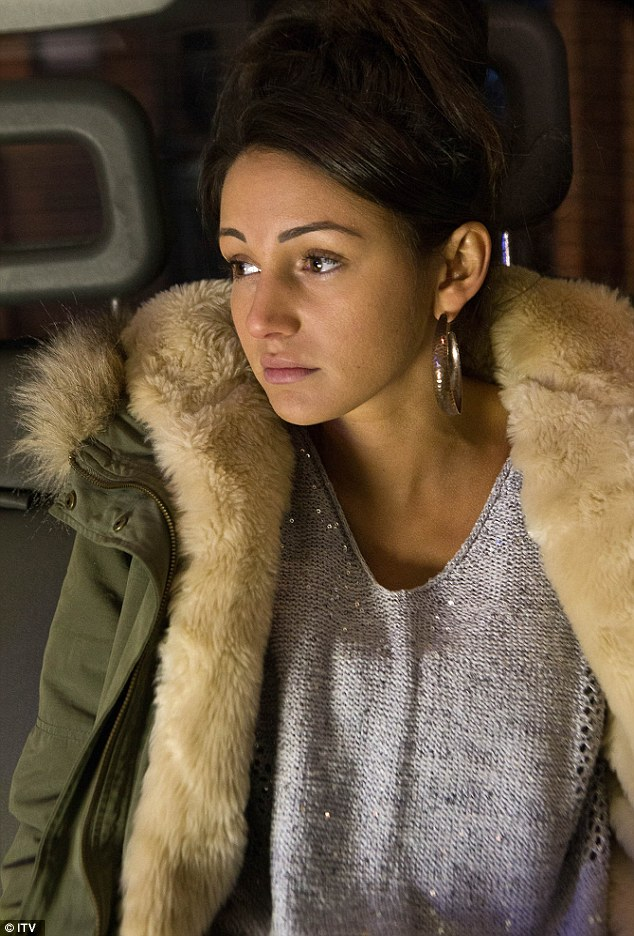 Teary eyed: Tina, played by Michelle Keegan, looks like she leaves the square crying