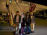 Excited to be back: The Rolling Stones members Mick Jagger, Keith Richards, Ronnie Wood and Charlie Watts, touch down in Perth, Australia, for their first of six shows around the country. The band tweeted this image after they landed