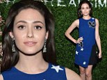 Lovely lady: Emmy Rossum looked beautiful in blue as she attended Real Simple's Botanical Beauty cocktail party in New York City on Saturday