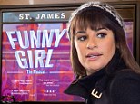 The Glee invasion! Lea Michele is chic in a black trench as they take over NYC to film scenes at iconic St. James Theatre