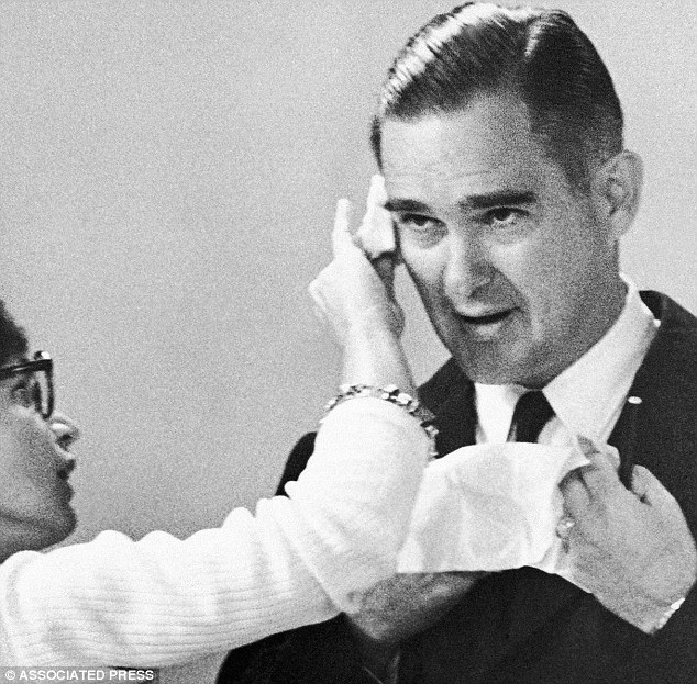 Howard Callaway before a TV debate in 1966. Callaway was elected to Congress in 1964, becoming the first Republican congressman from Georgia since Reconstruction