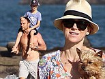 Naomi Watts and Liev Schreiber hit the beach for some St Patrick's Day family fun in California