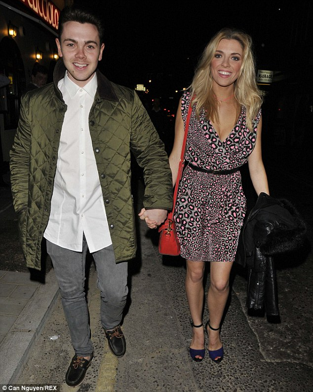 Loving couple: Ray Quinn and Emma Stephens are hand in hand as they attend the opening night of Jersey Boys at the Piccadilly Theatre in London on Saturday evening