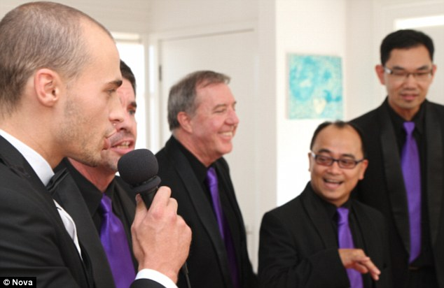 Quartet of love: Fitzy organized for A Capella group Sydney Harmony to come sing in their Sydney home