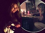 'Multitasking Mama!': Teresa Palmer signs a friends birthday present while breastfeeding her son at a birthday party in LA on Sunday