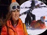 There she goes: Jackie Gillies takes one of many tumbles on the Thredbo ski slope on the latest episode of Real Housewives Of Melbourne