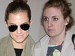 Makeup free Girls! Co-stars Lena Dunham and Allison Williams jet out of LA without a spot of war paint