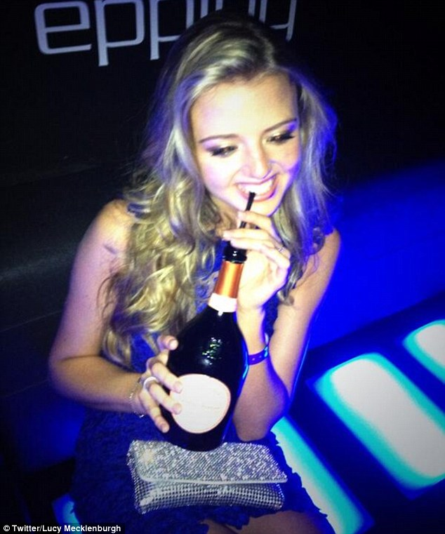 Milestone birthday: The girls seemed to have a blast on their night out, with Lucy posting a shot on her Twitter page of Lydia sipping a bottle of expensive Laurent-Perrier champagne through a straw