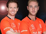 Smiles better: England's Broad, Morgan and Buttler in the new kit