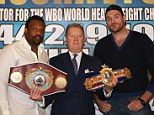Serious business: Promoter Frank Warren announces the rematch between Dereck Chisora (left) and Tyson Fury (right)